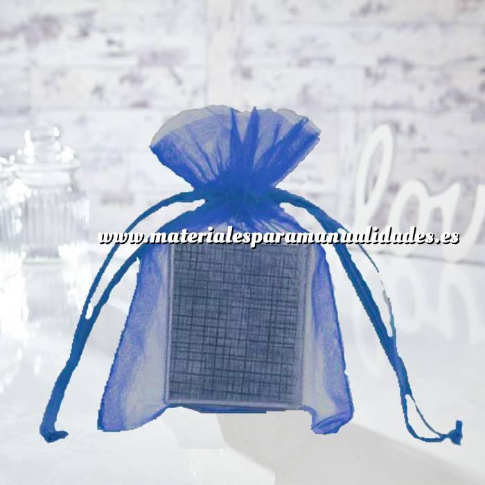 Imagen Tamaño 12x14 cms. Bolsa de organza Azul Francia 12x14 capacidad 11x11 cms.