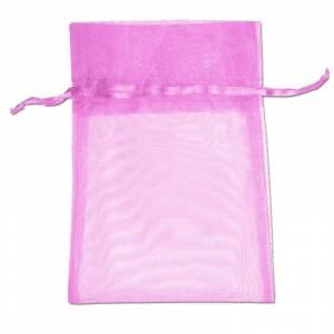 Imagen Tamaño 11x16 cms. Bolsa de organza Rosa 11x16 capacidad 11x14 cms.