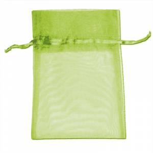 Imagen Tamaño 11x16 cms. Bolsa de organza Verde 11x16 capacidad 11x14 cms.