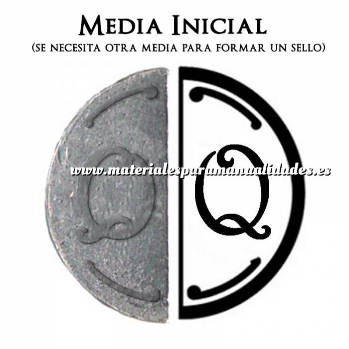 Imagen 2 Iniciales Intercambiables Placa Media Inicial Q para sello vacío de lacre