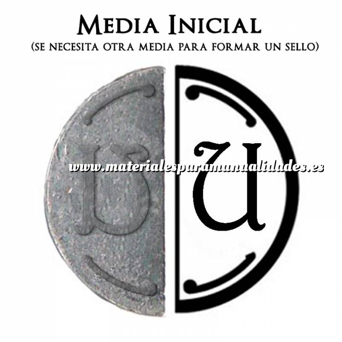 Imagen 2 Iniciales Intercambiables Placa Media Inicial U para sello vacío de lacre