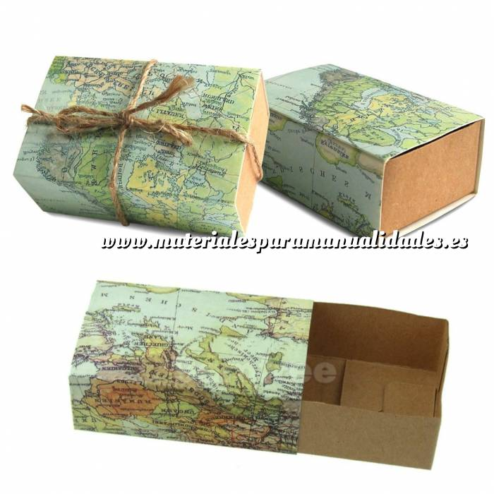 Imagen Cajitas para regalo Cajita Boda viajeros - Mapa Mundial con cuerda incluida