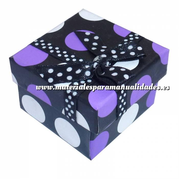 Imagen Cajitas para regalo Cajita para anillos o regalitos - negra y lunares morado y blanco