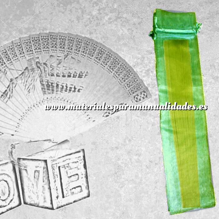 Imagen Tamaño 08x28 cms. Bolsa de organza Verde 8x28 capacidad 8x25 cms.