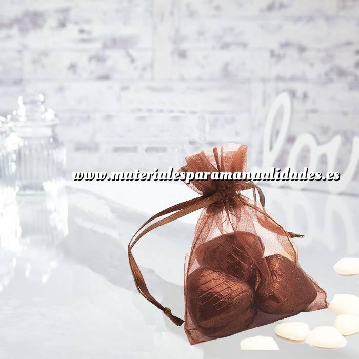 Imagen Tamaño 09x12 cms. Bolsa de organza Marrón 9x12 capacidad 9x9 cms. (Últimas Unidades)