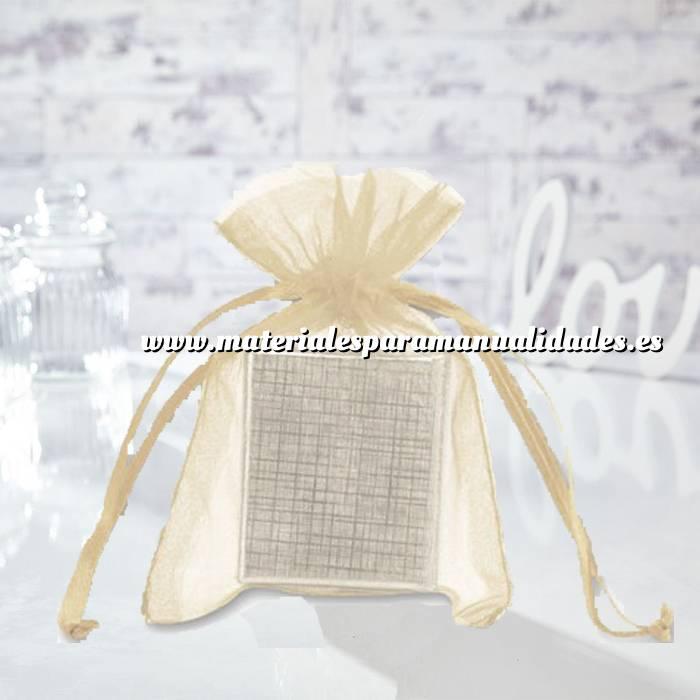 Imagen Tamaño 10x15 cms. Bolsa de organza Crema ó Beige 10x15 capacidad 10x12 cms.