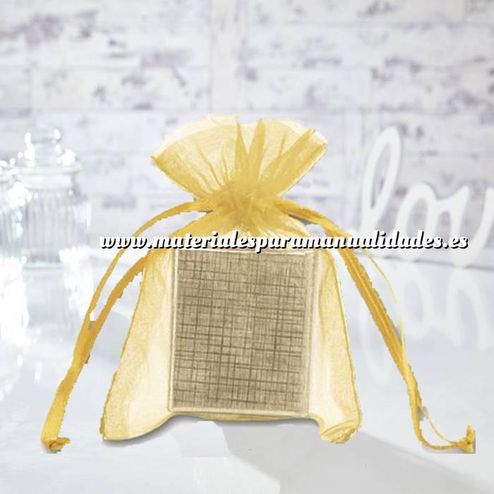 Imagen Tamaño 10x15 cms. Bolsa de organza Dorada 10x15 capacidad 10x12 cms.