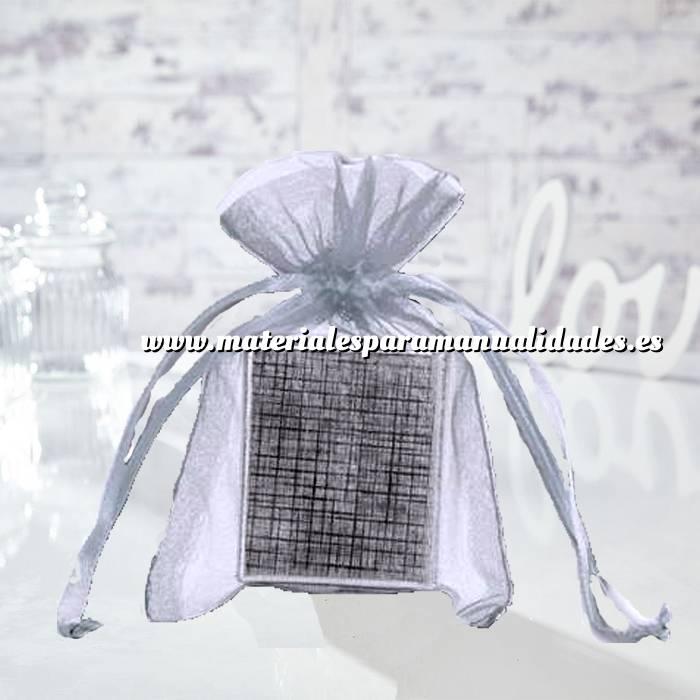 Imagen Tamaño 10x15 cms. Bolsa de organza Gris Plata 10x15 capacidad 10x12 cms.