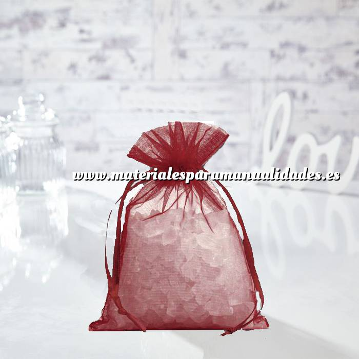 Imagen Tamaño 14x17 cms. Bolsa de organza Burdeos 14x17 capacidad 13x13 cms. (Últimas Unidades)