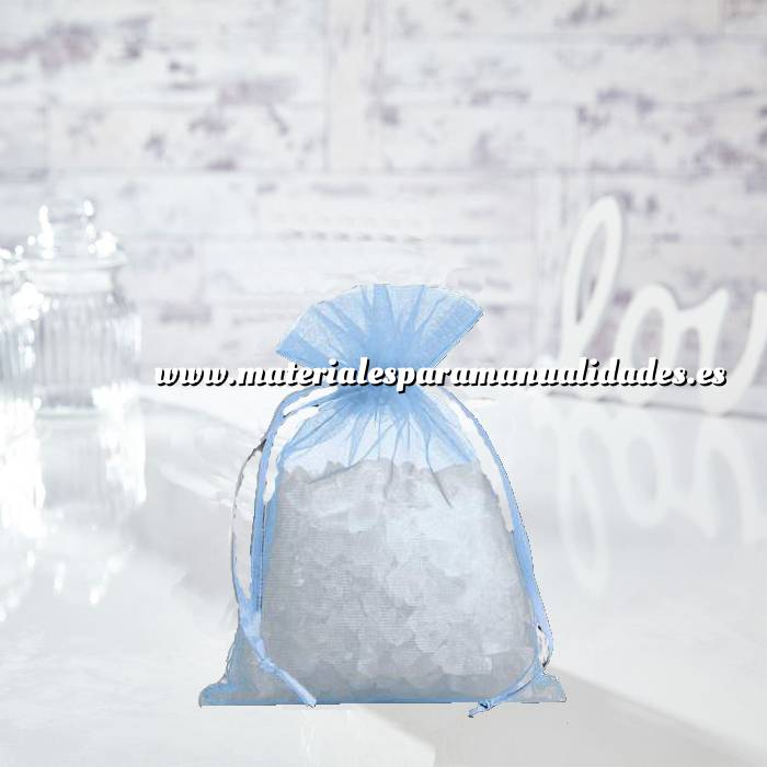 Imagen Tamaño 14x17 cms. Bolsa de organza Celeste 14x17 capacidad 13x13 cms. (Últimas Unidades)