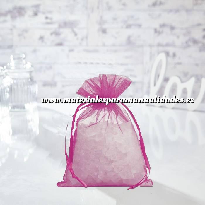Imagen Tamaño 14x17 cms. Bolsa de organza Fucsia 14x17 capacidad 13x13 cms. (Últimas Unidades)