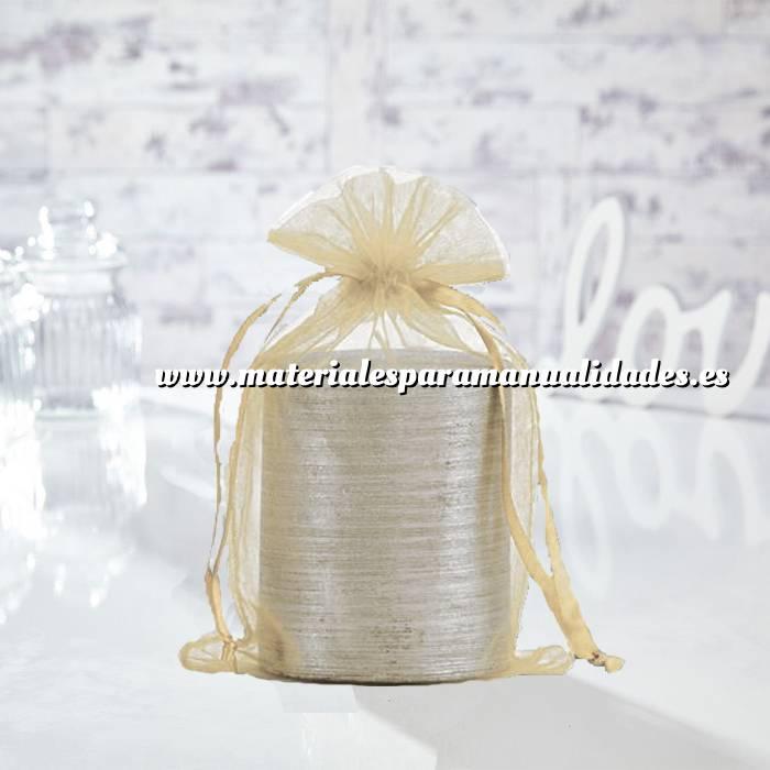 Imagen Tamaño 15.5x24 cms. Bolsa de organza Crema o Beige 15,5x24 capacidad 15x20 cms.