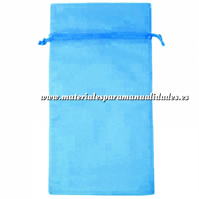 Imagen Tamaño 15x36 cms. Bolsa de organza Turquesa 15x36 capacidad 15x31 cms.