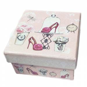 Cajitas para regalo - Caja rosa vintage 9.5 x 9.5 x 5.5 MODELOS SURTIDOS