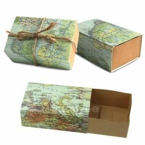 Cajitas para regalo - Cajita Boda viajeros - Mapa Mundial con cuerda incluida