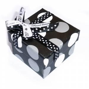 Cajitas para regalo - Cajita para anillos o regalitos - negra y lunares gris y blanco