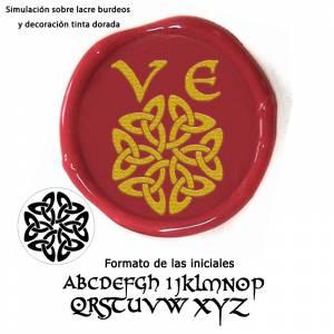 Con NUESTRO diseño - Sello Lacre 2.5 cms. Iniciales celtas