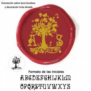 Con NUESTRO diseño - Sello Lacre 3 cms. árbol con iniciales