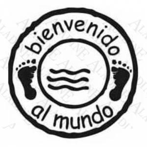 Diseños inmediatos - BAUTIZO SELLO CAUCHO BIENVENIDO AL MUNDO (Descatalogado) (ultima ud) (Últimas Unidades)
