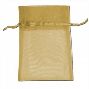 Imagen Tamaño 08x28 cms. Bolsa de organza Dorada 8x28 capacidad 8x25 cms.