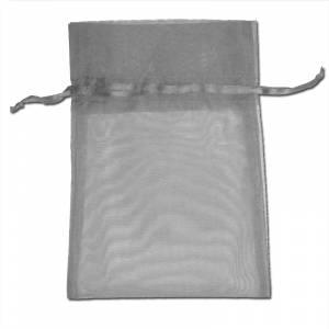 Imagen Tamaño 08x28 cms. Bolsa de organza Gris Plata 8x28 capacidad 8x25 cms.