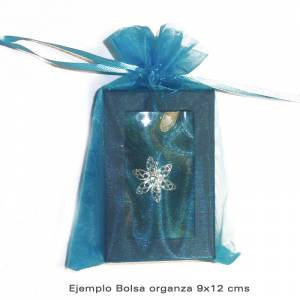 Imagen Tamaño 09x12 cms. Bolsa de organza Rosa 9x12 capacidad 9x9 cms.