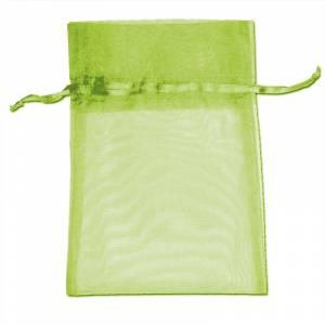 Imagen Tamaño 09x12 cms. Bolsa de organza Verde 9x12 capacidad 9x9 cms.