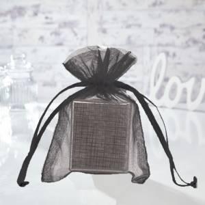 Tamaño 10x15 cms. - Bolsa de organza negra 10x15 capacidad 10x12 cms.
