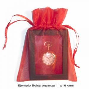 Imagen Tamaño 11x16 cms. Bolsa de organza Dorada 11x16 capacidad 11x14 cms.
