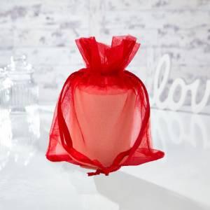 Tamaño 13.5x19 cms. - Bolsa de organza Roja 13.5x19 capacidad 13x17 cms.