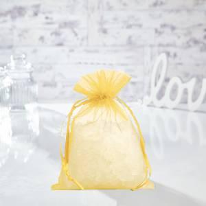Tamaño 14x17 cms. - Bolsa de organza Amarilla 14x17 capacidad 13x13 cms. (Últimas Unidades)