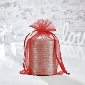 Tamaño 15.5x24 cms. - Bolsa de organza Roja 15,5x24 capacidad 15x20 cms.