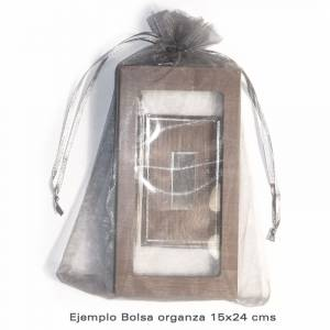 Imagen Tamaño 15.5x24 cms. Bolsa de organza Rosa 15,5x24 capacidad 15x20 cms.