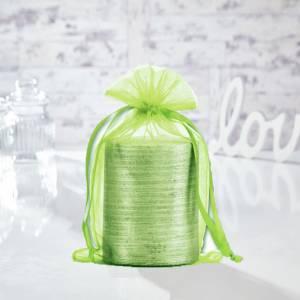 Tamaño 15.5x24 cms. - Bolsa de organza Verde 15,5x24 capacidad 15x20 cms.